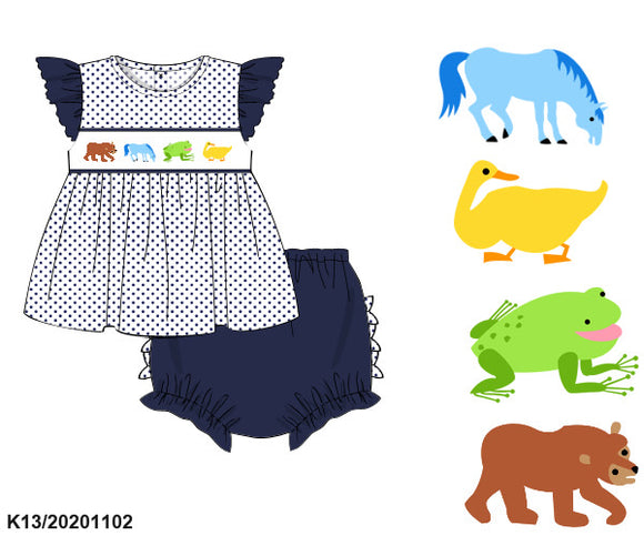 Brown Bear Smocked Bloomer Set PO16 - ETA late February