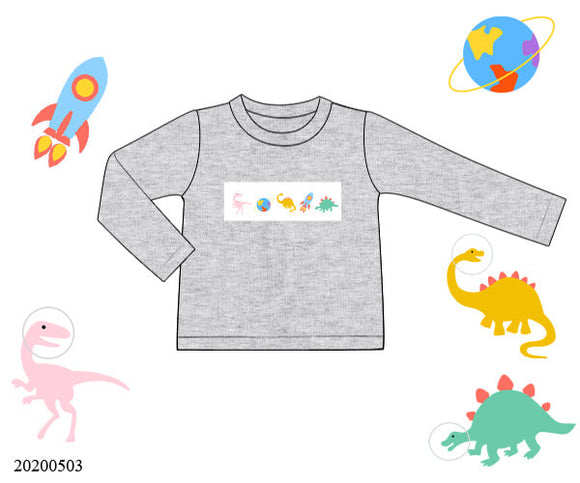 Dinosaur Smocked Shirt - ETA late August