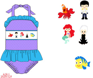 Little Mermaid Smocked One Piece Swim Set PO17