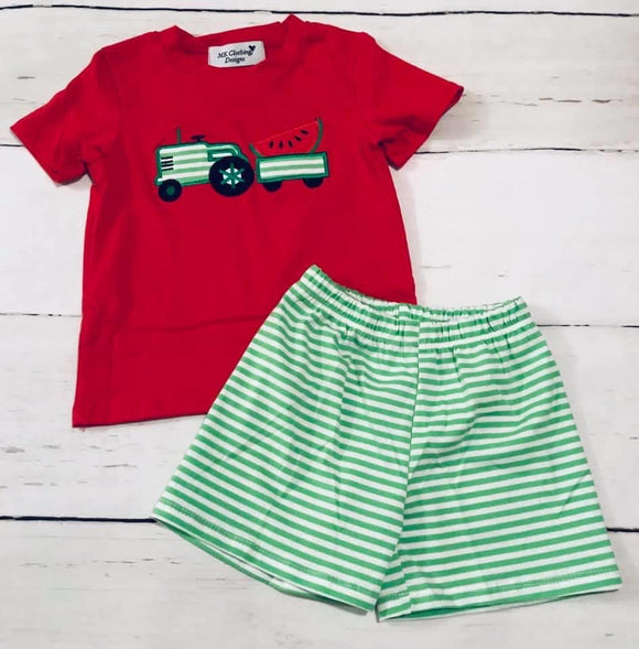 Watermelon Applique Shorts Set