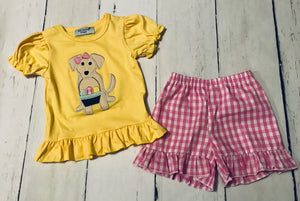 Easter Puppy Girl Short Set