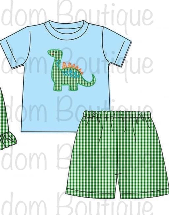 Dinosaur Boy Appliqué Shorts Set - ETA mid April