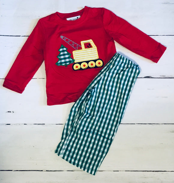 Christmas Construction Appliqué Boy Set