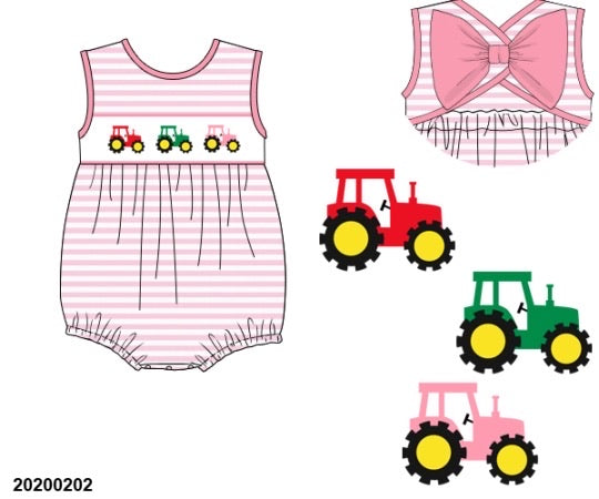 Tractor Smocked Girl Bubble