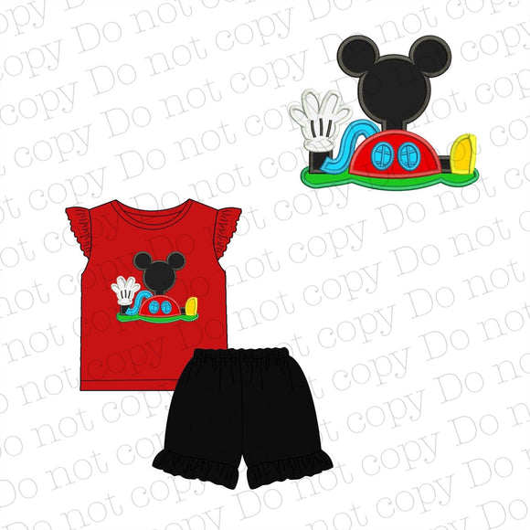 Mickey Mouse Clubhouse Appliqué Girl Shorts Set WITHOUT BOW