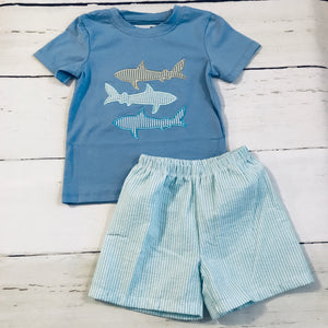 Shark Applique Shorts Set