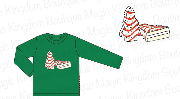 Christmas Cakes Long Sleeve Applique Boy Shirt - ETA late October