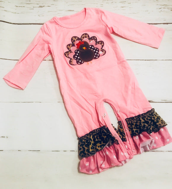 Pink Turkey Applique Romper