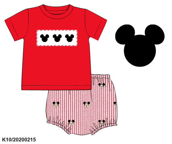 Mickey Smocked Top and Applique Diaper Set - ETA early May