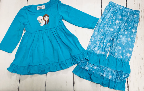 Anna and Elsa Applique Pant Set