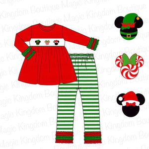 Disney Christmas Heads Applique Legging Set