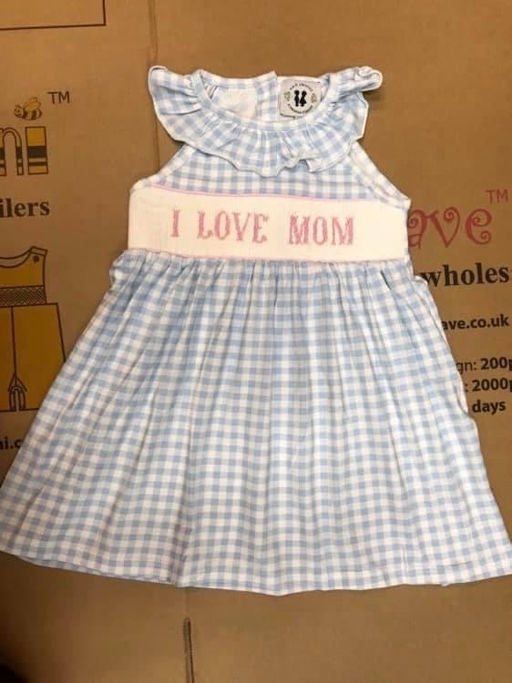 I Love Mom Smocked Dress - ETA late April