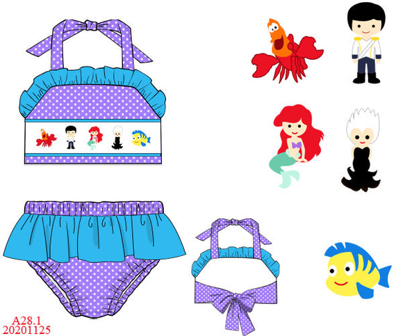 Little Mermaid Smocked Two Piece Swim Set PO17