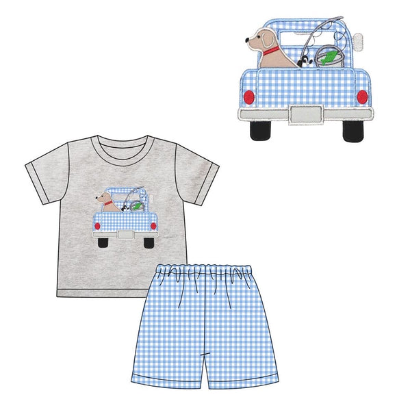 Fishing Dog in Truck Applique Short Set - ETA late June