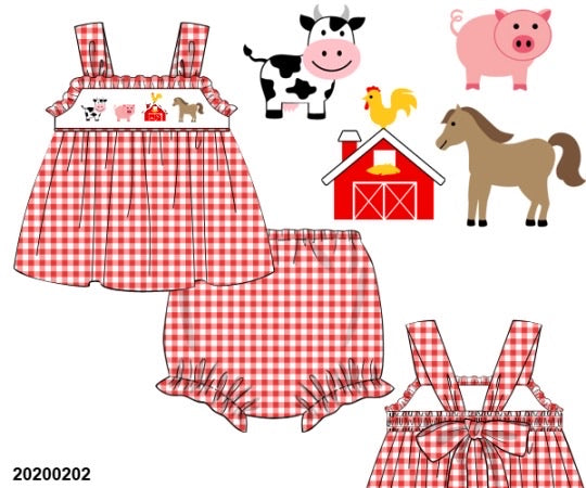Farm Smocked Bloomer Set - ETA early May