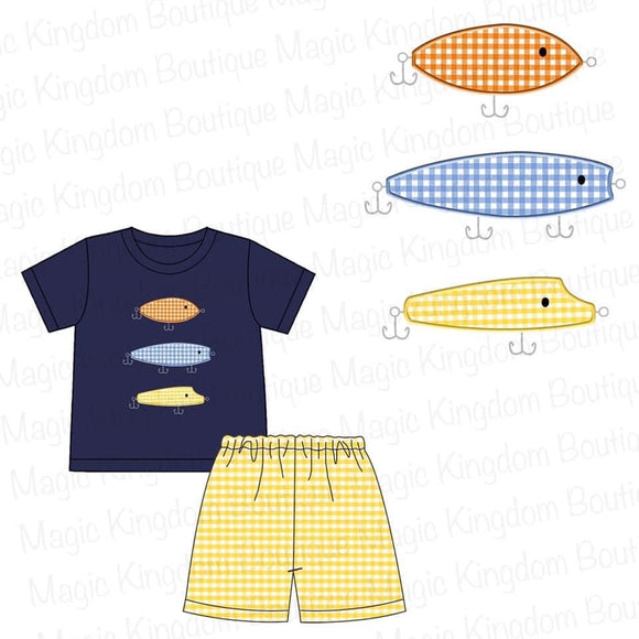 Fishing Lures Applique Short Set - ETA late June