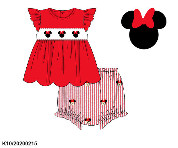 Minnie Smocked Top and Applique Bloomer Set - ETA early May