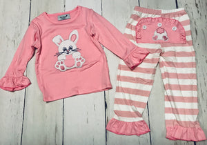 Pink Bunny Faux Flap Applique Pajamas