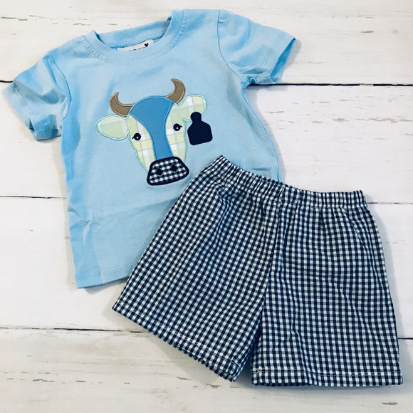 Cow Applique Boy Shorts Set