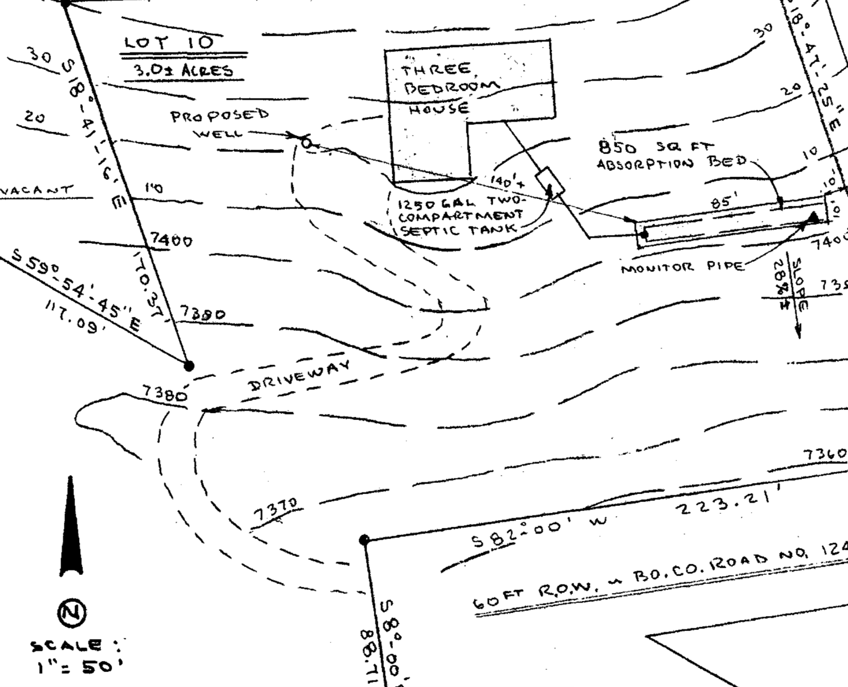 A diagram from a septic permit