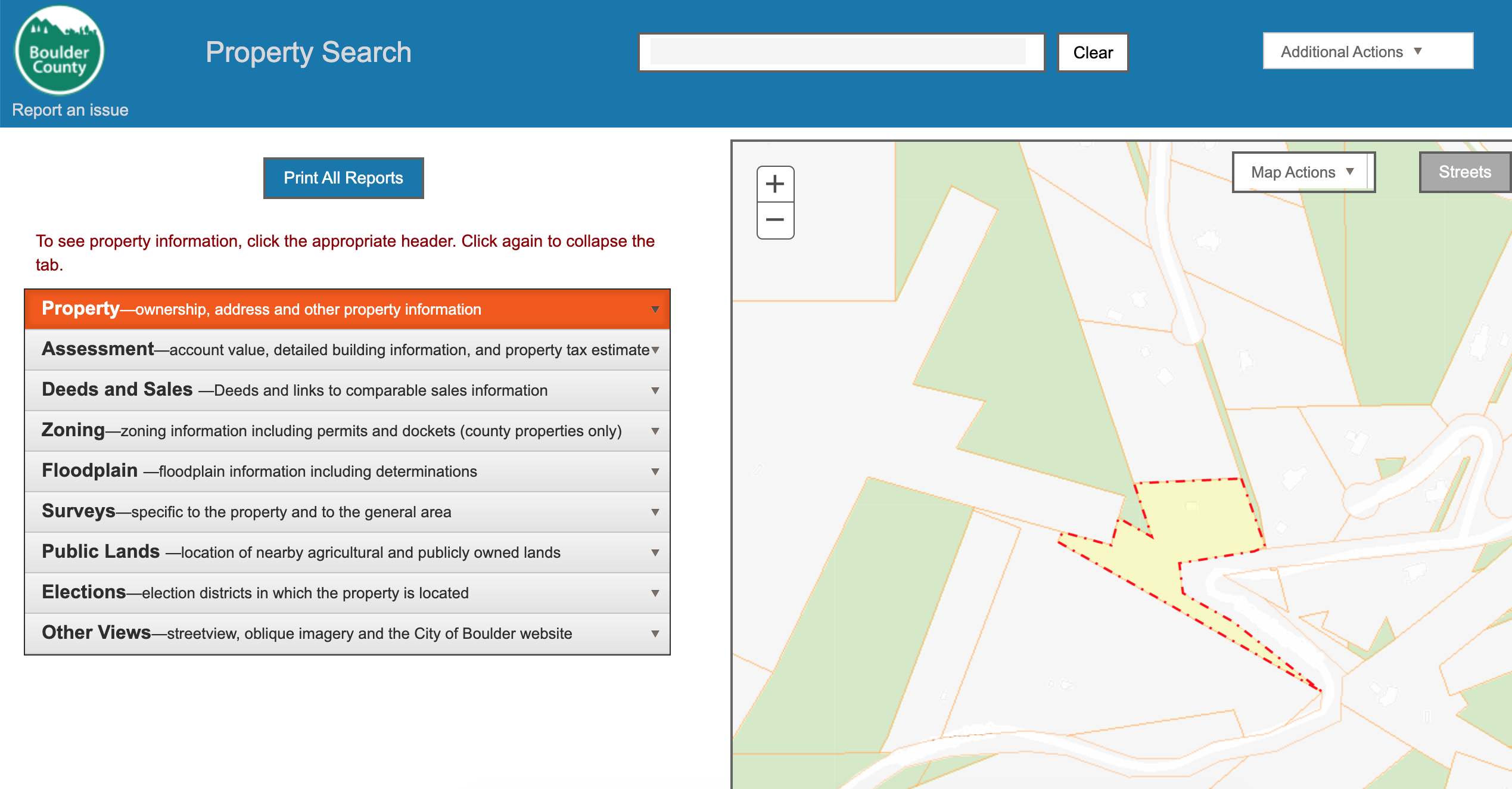 Boulder County's Property Search tool.