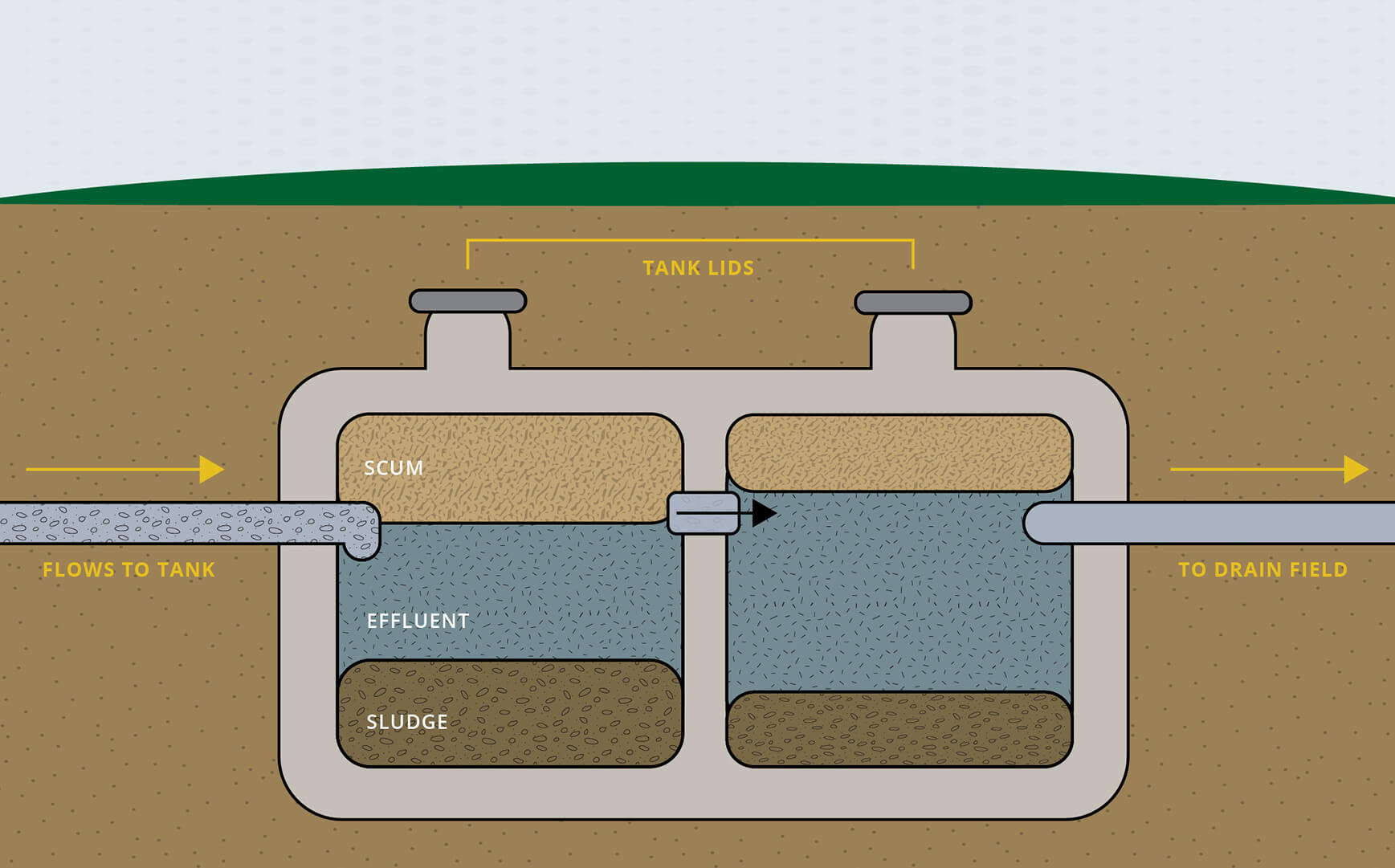 An illustration of a two-compartment septic tank system.
