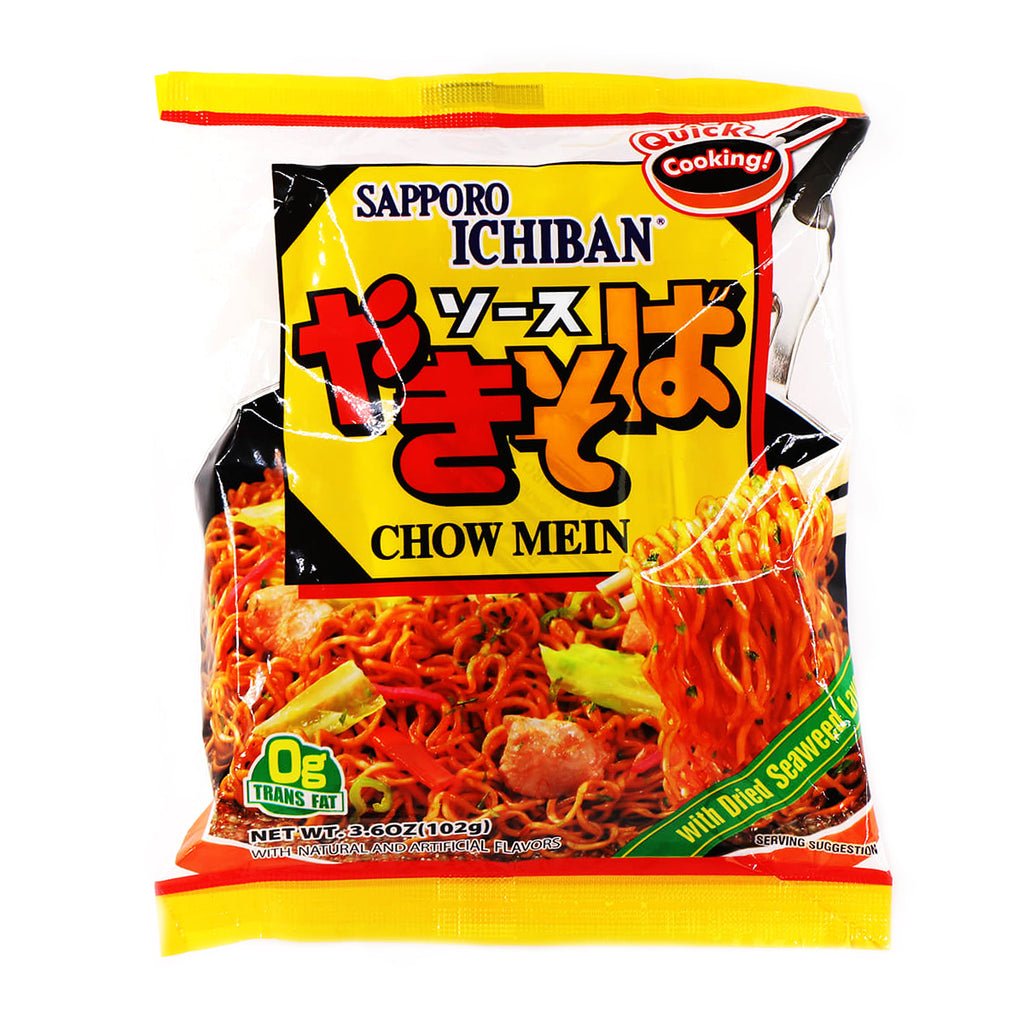 Sapporo Ichiban Chow Mein with Dried Seaweed Laver 3.6oz (102g)