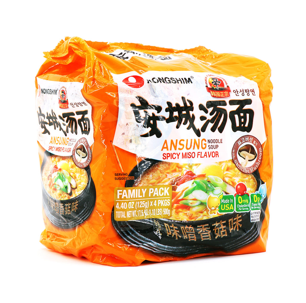 Nongshim Ansung Noodle Soup Spicy Miso Flavor Family Pack 125g, 4Packs