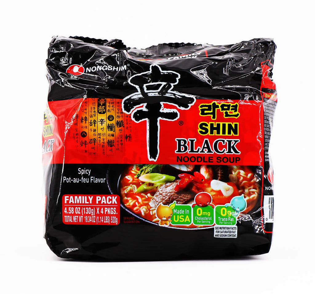 Nongshim Shin Black Noodle Soup Family Pack 130g, 4Packs - Asian Mart