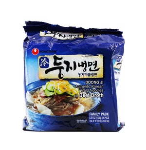 Nongshim Doong Ji Authentic Korean Cold Noodles in Beef Broth Family Pack, 5.57oz (158g) x 4Pks, 632g