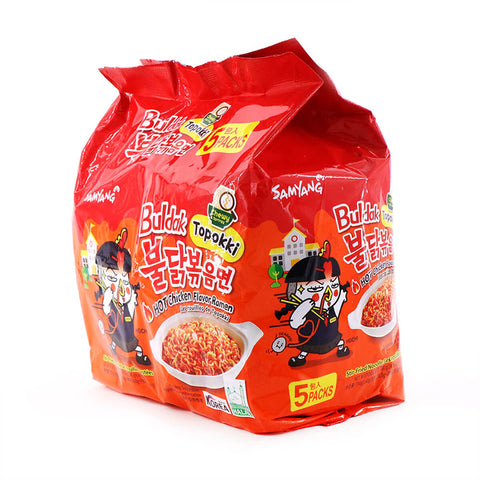 Samyang Topokki Buldak Hot Chicken Flavor Ramen Family Pack, 4.94oz (140g) x 5Pks, 700g