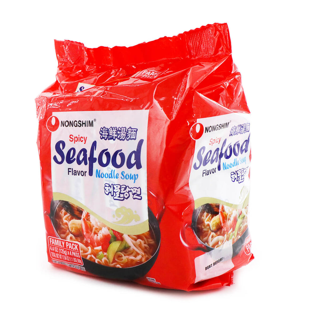 Nongshim Spicy Flavor Seafood Noodle Soup Family Pack 4.4oz (125g), 4Packs