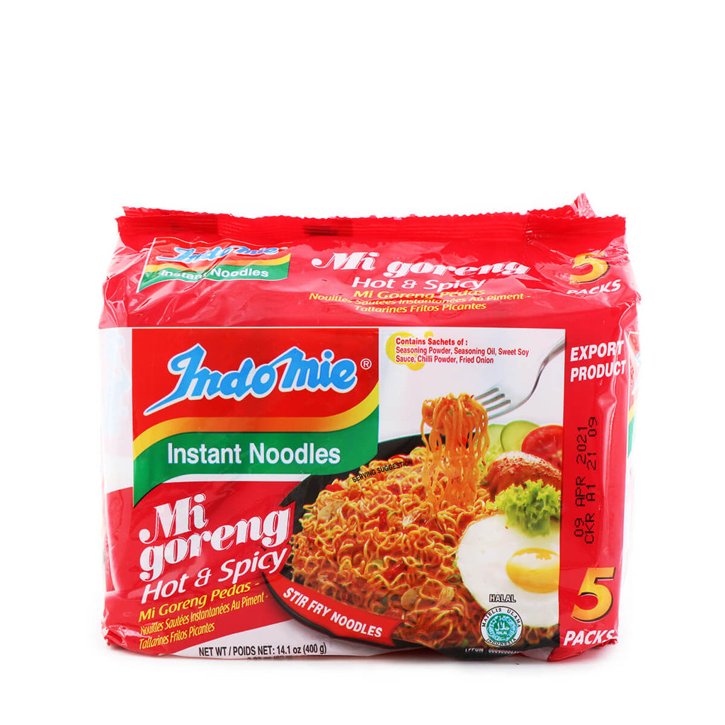 INDOMIE Mi Goreng Hot & Spicy Noodles 2.82oz (80g) x 5Pks, 14.1oz (400g)