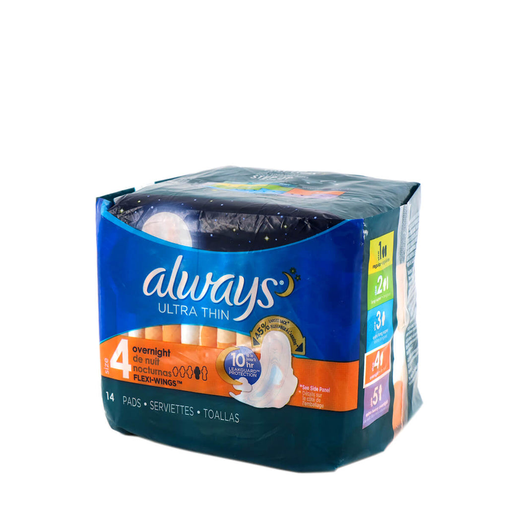 ALWAYS Ultra Thin Overnight 14 Pads Flexi-Wings (Size 4)
