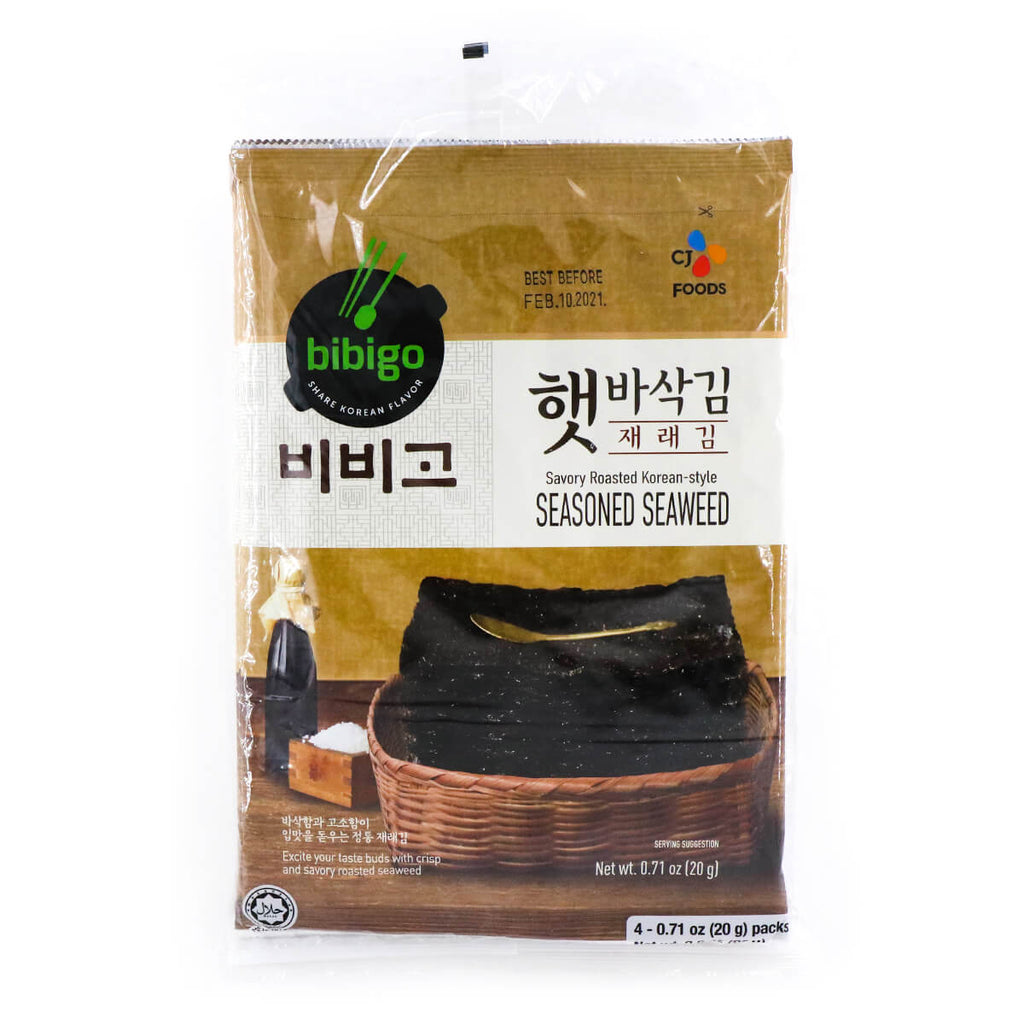 BIBIGO Savory Roasted Korean Seasoned Seasoned Seaweed, 0.71oz (20g) x 4 Pks, 80g