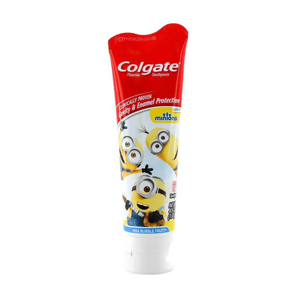 COLGATE Fluoride Toothpaste Kids Minions Mild Bubble Fruit 4.6oz (130g)