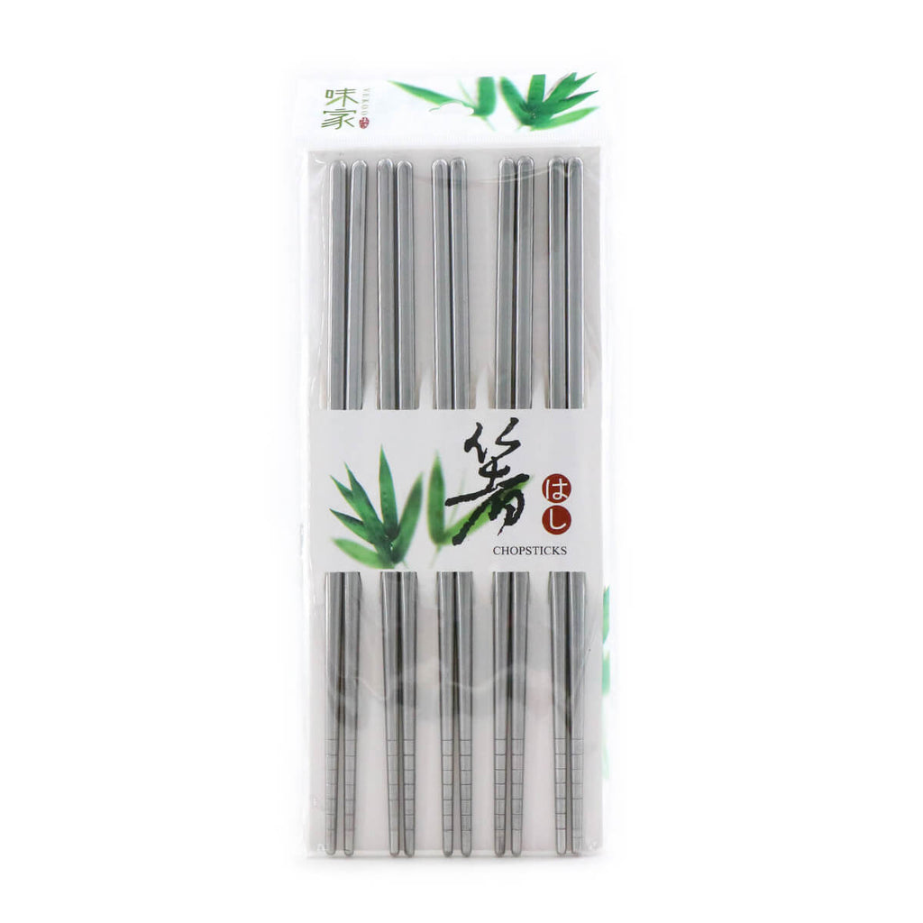 VEKOO Stainless Square Chopsticks set (5 pairs)