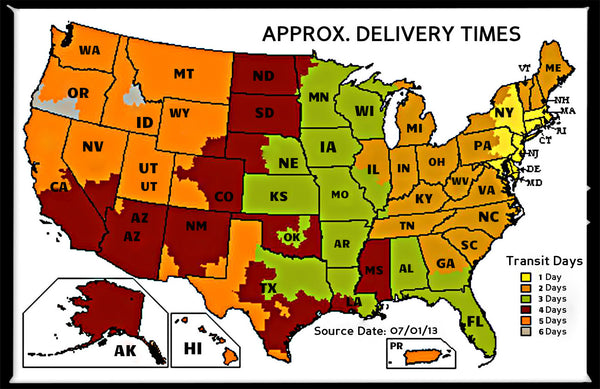 Shipping And Delivering Ring Watch Orders By Digits - Ups Service Map Of The Us