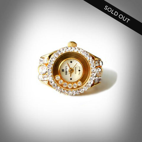 Antique Art Deco Floating Crystals Ring Watch