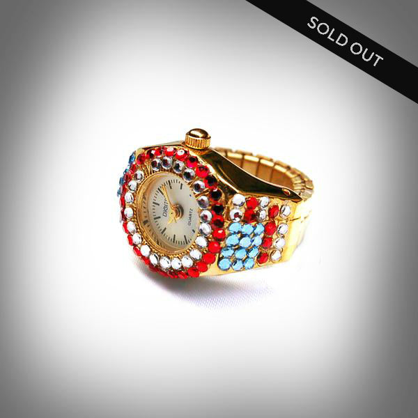 USA Spiral Gold Sparkler Ring Watch - sold out