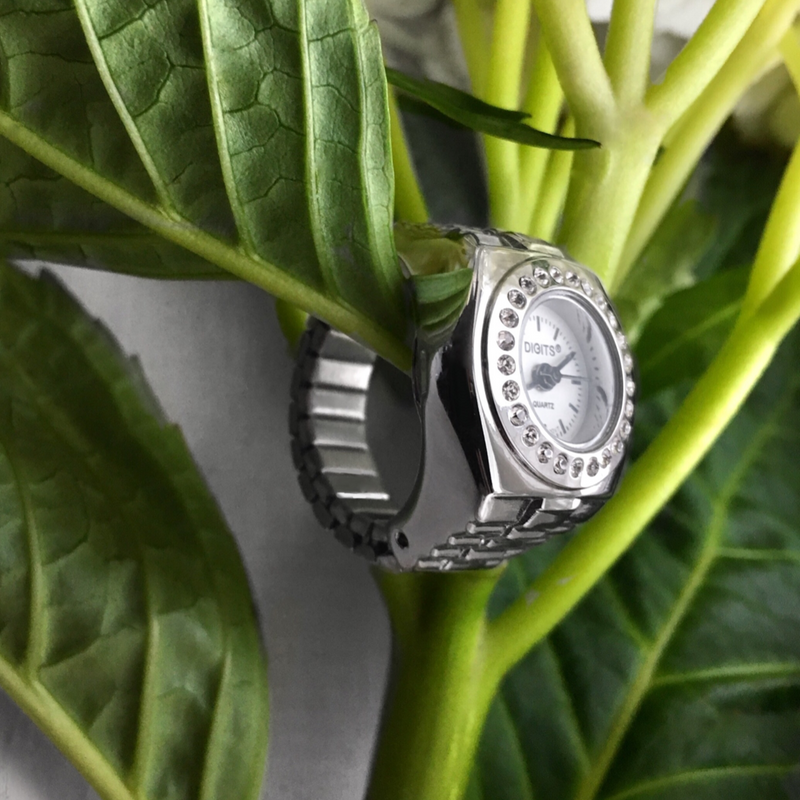 Stellar Pave Halo Silver Ring Watch by DIGITS