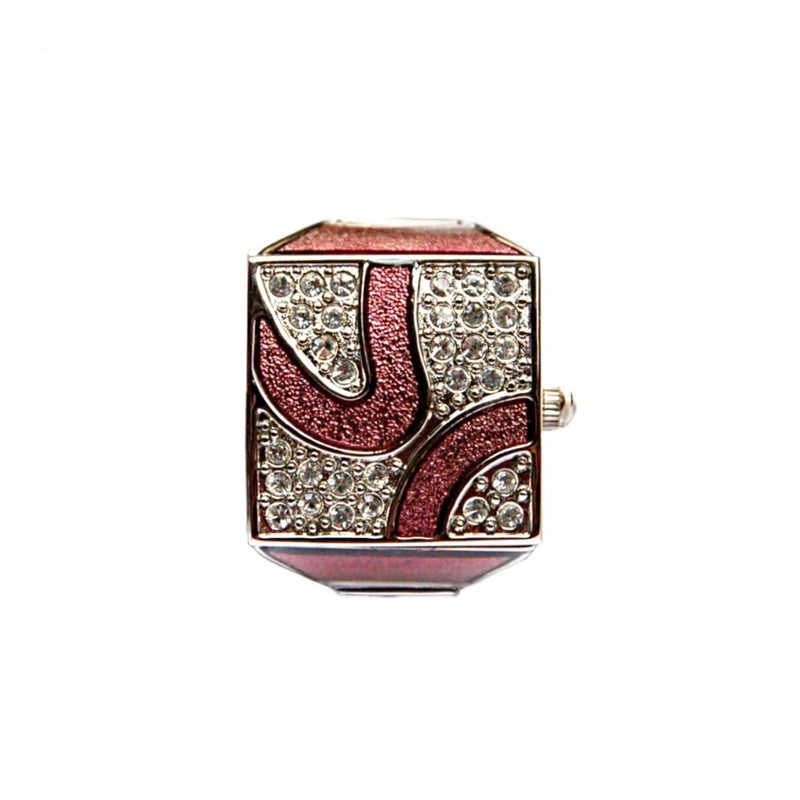 Rose Pink Pave Cube Ring Watch by Bonetto