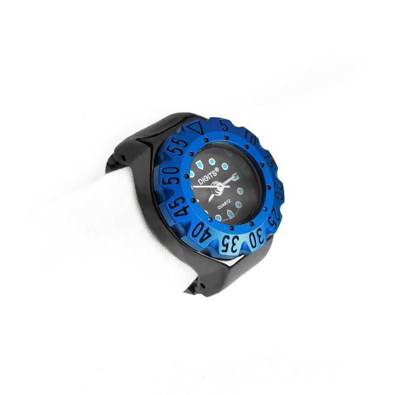 Lunar Diver Ring Watch in Jet Chrome with Blue Bezel by DIGITS