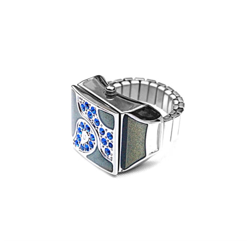 Midnight Blue Pave Cube Ring Watch by Bonetto