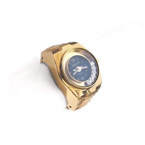 Lunar Floating Crystals Ring Watch in Gold