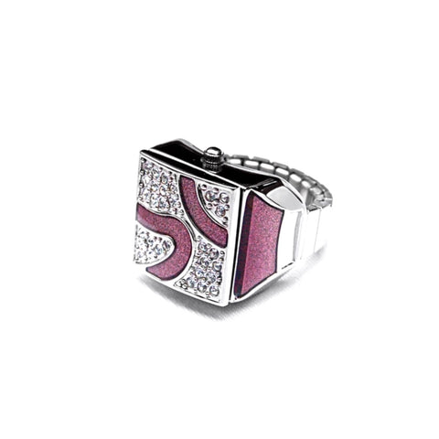 Rose Pave Cube Ring Watch