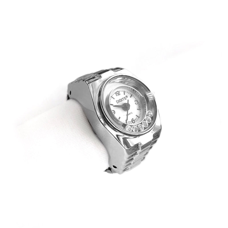 Stellar Floating Crystals Finger Ring Watch in Silver by DIGITS