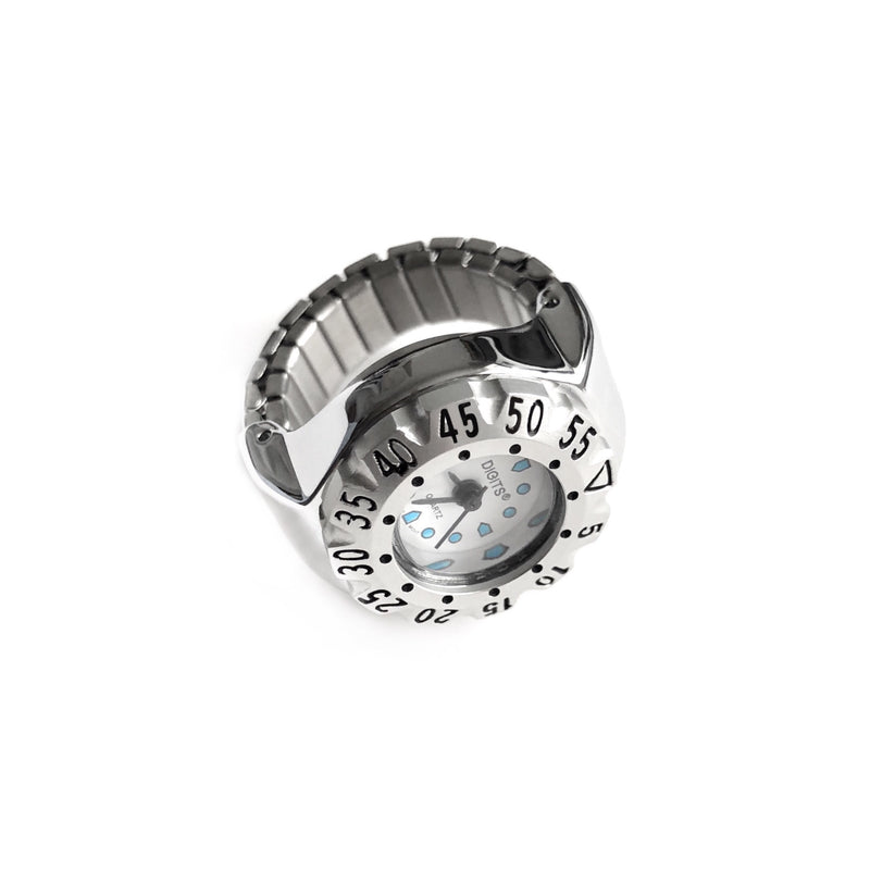 Stellar Diver Ring Watch in Silver by DIGITS Watch