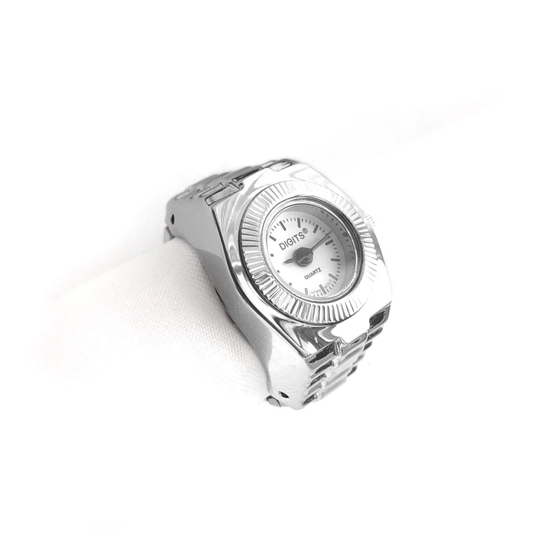 Stellar Sphere Finger Ring Watch in Silver by DIGITS