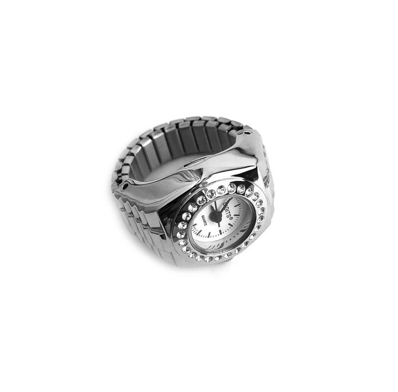 Stellar Pave Halo Finger Ring Watch in Silver by DIGITS Watch